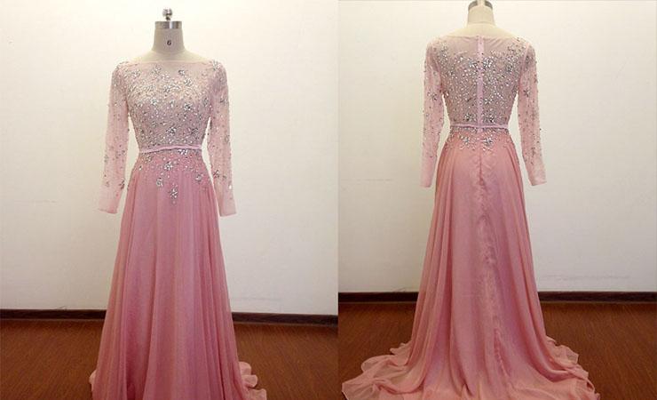 Patterned Sweetheart Pink Prom Dress by Rachel Allan