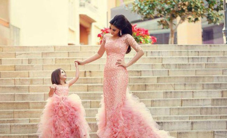 Pleated Beauty Lace Party Flower Girl Dress