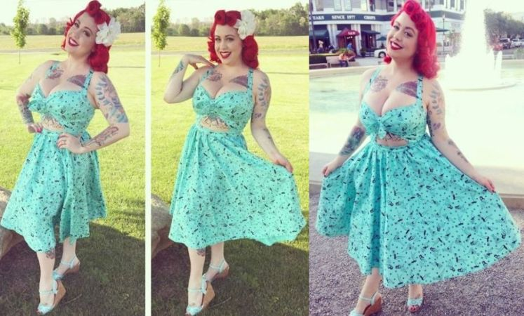 Renee Dress in Mint pin up