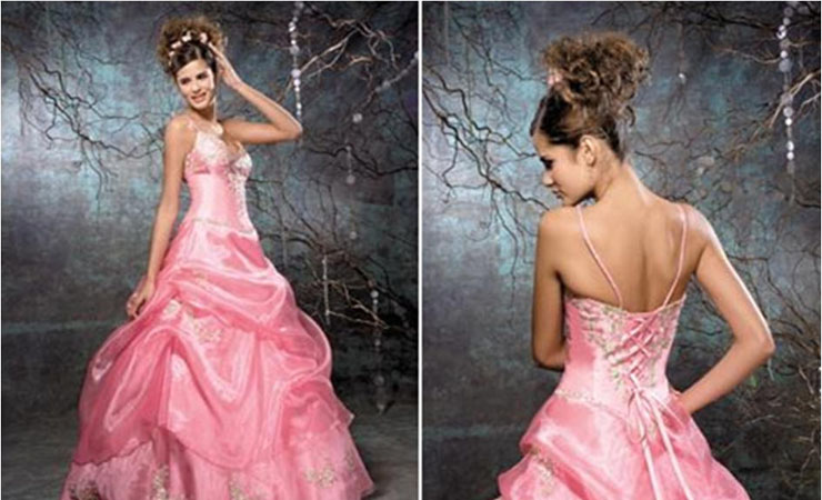Royal Printed Strapless Pink Prom Dress from Tiffany