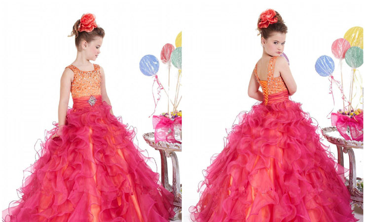 Shimmering Illusion Lace Flower Girl Dress with Floral Appliqués