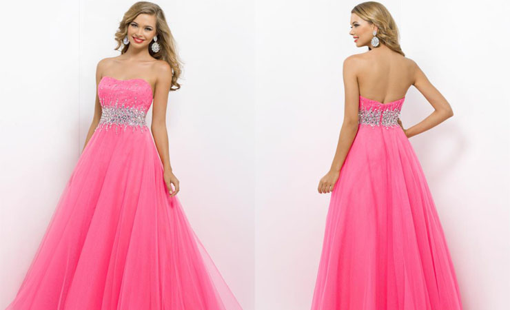 Sleeveless formal Bubble Gum Pink Prom Dress by Blush