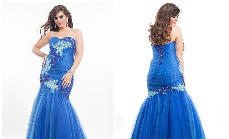 Strapless Beaded Royal Blue Prom Dress with Chapel Train