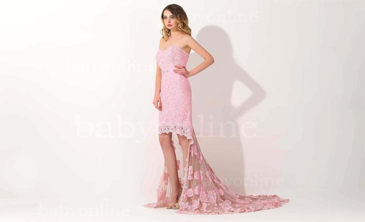 Strapless Sparkling Pink Prom Dress by Mori Lee Vizcaya