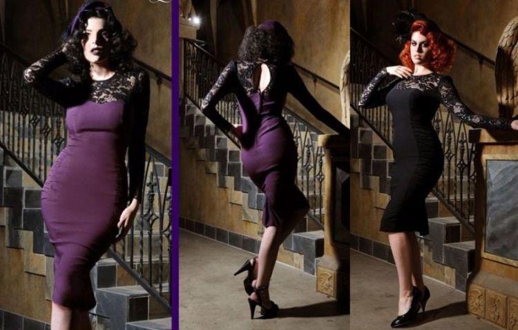 Vintage Goth Delia Dress in Purple