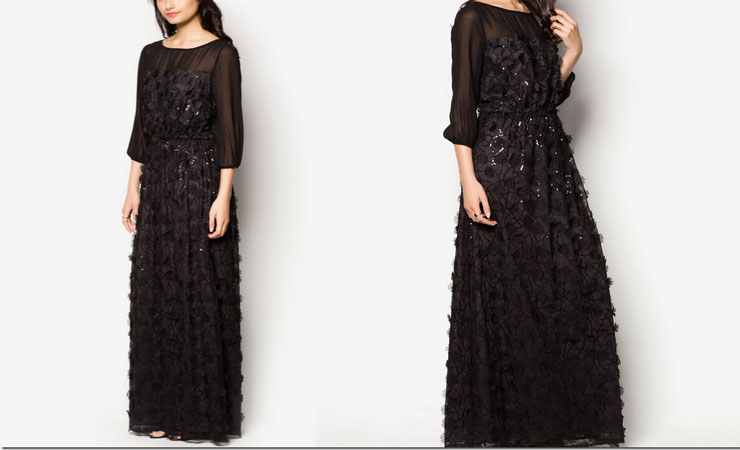 Variegated Maxi Cheap Maternity Dress in Elbow Sleeves