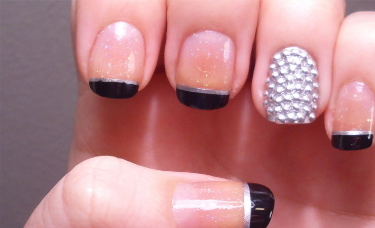 Crazy Glittery French Tip Nail Design