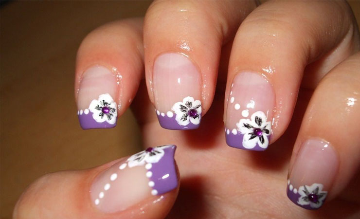 Floral French Tip Nail Design