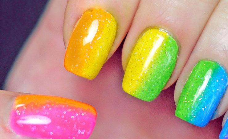 French Tip Nail Design Rainbow Hues