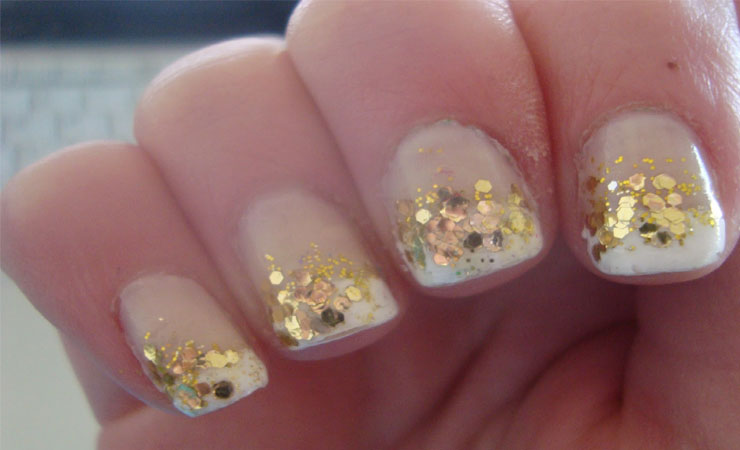 French Tip Nail Design with Gold Beads