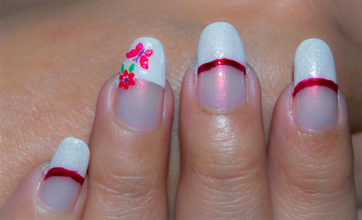 French Tip Nail Design with Lining Accent