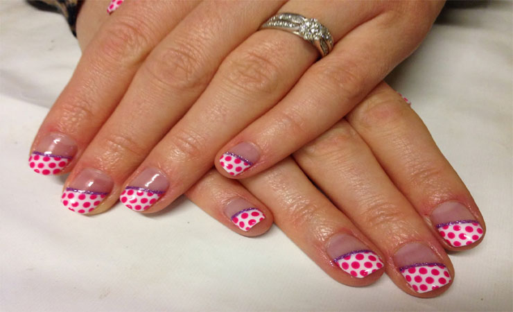 French Tip Nail Design with Polka Dots