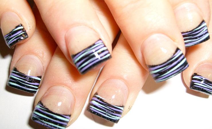 French Tip Nail Design Zebra Stripes
