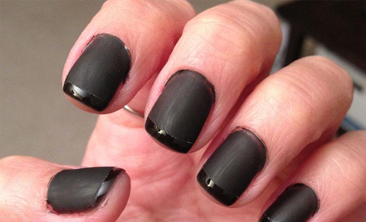 Matte Black Base French Tip Nail Design