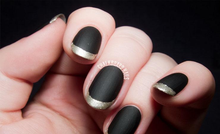 Metallic French Tip Nail Design