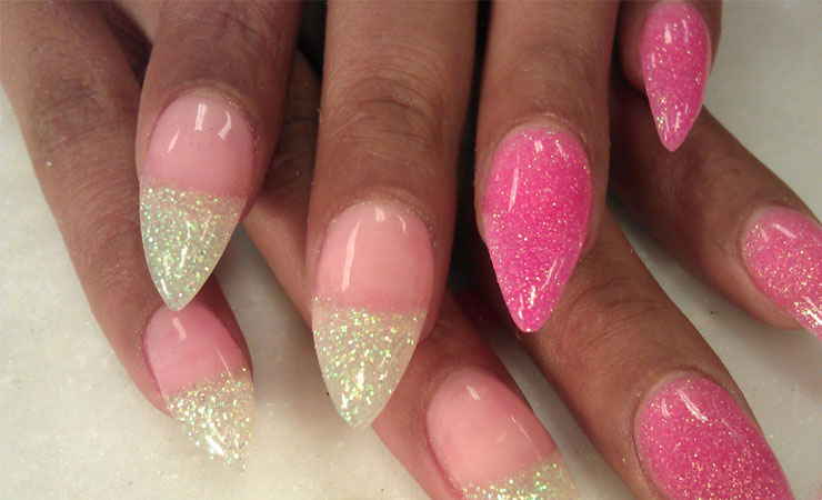 Reverse V-shaped French Tip Nail Design