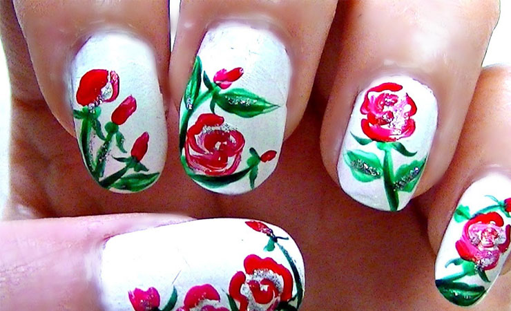 Rose Garden Nail Art Design