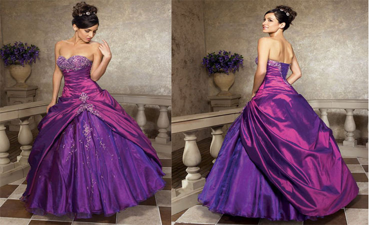 Flounced Ball Gown with Ballet-length Sleeves