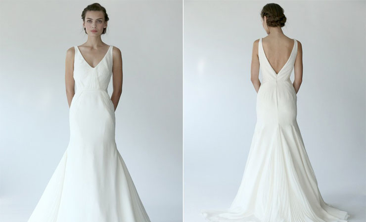 Plunging V Neckline Beautifully Detailed Princess Wedding Gown