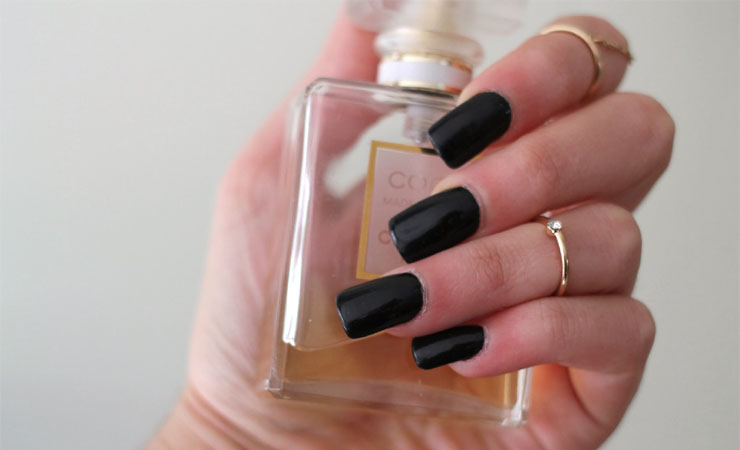 Sleek Black Acrylic with French Tip Nail Design