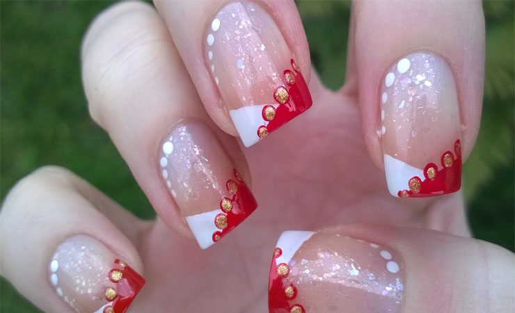 Snowflake Inspired French Tip Nail Design