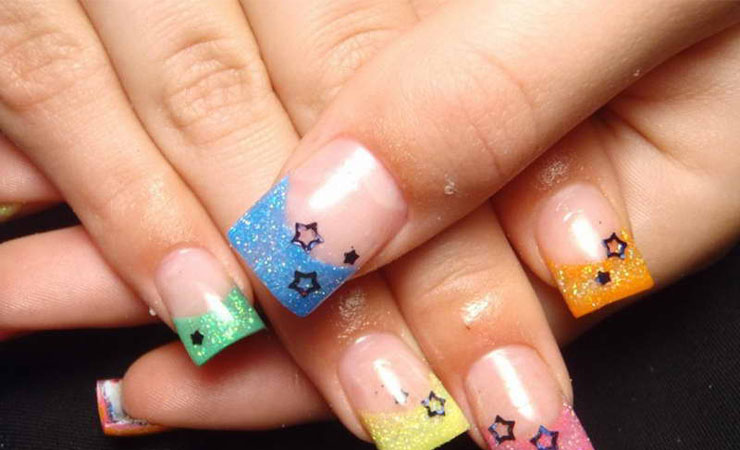 Star Studded French Tip Nail Design