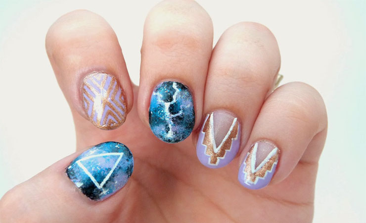 Striking Lighting Nail Art Design