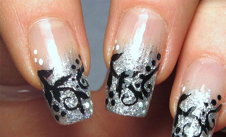 Violet Glitter French Tip Nail Design