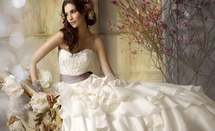 Lovely Lace-yoked Fluted Ball Gown Wedding Dress