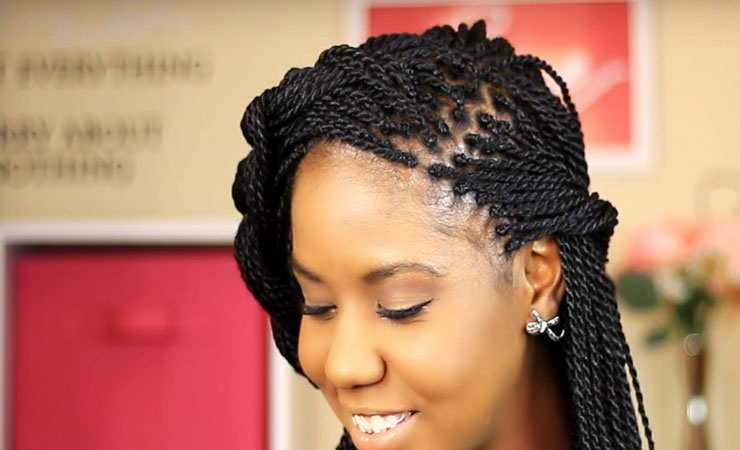 Braided Updo with Senegalese Twists