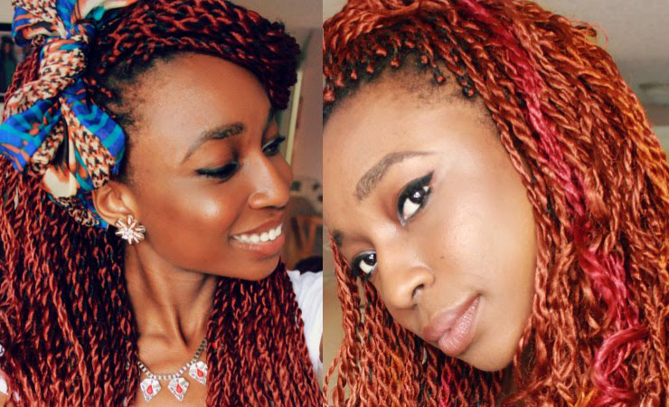 Senegalese Twists with a Pop of Red