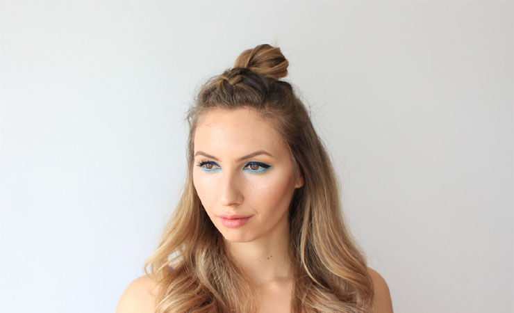 Top Knot with Two French Braids
